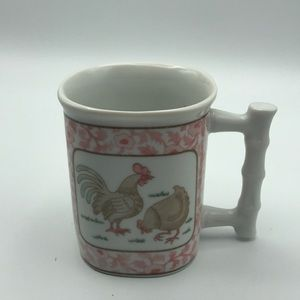 Vintage Coffee Mug Bamboo Handle Paisley Pink